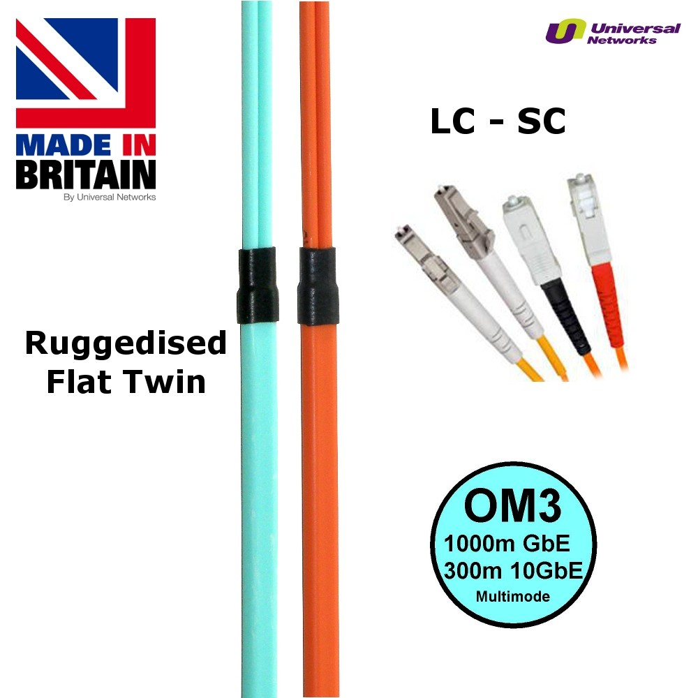 Ruggedised Multi Mode LSZH Fibre Cable OM3, LC-SC