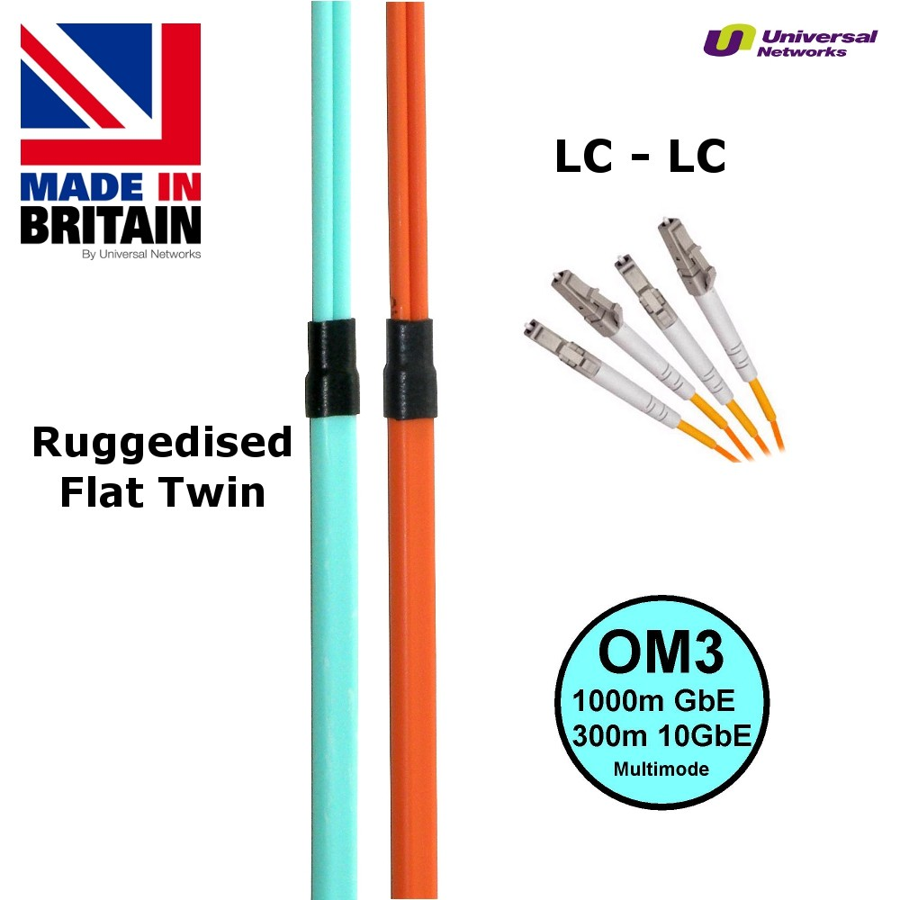 Ruggedised Multi Mode LSZH Fibre Cable OM3, LC-LC