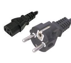 EU Mains 16A Plug to Female IEC 320 C13, 2m