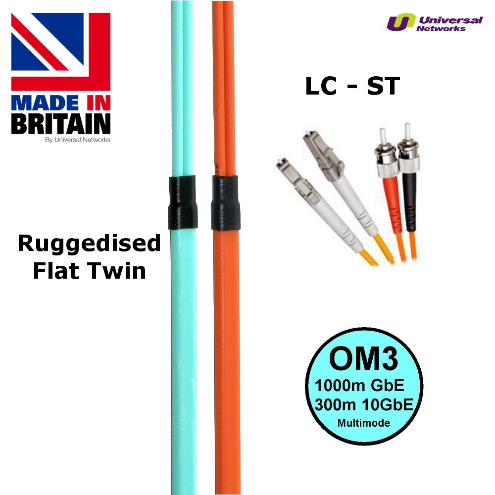Ruggedised Multi Mode LSZH Fibre Cable OM3, LC-ST