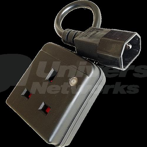 BS 1363 Socket to IEC 320 Male C14, 0.25m