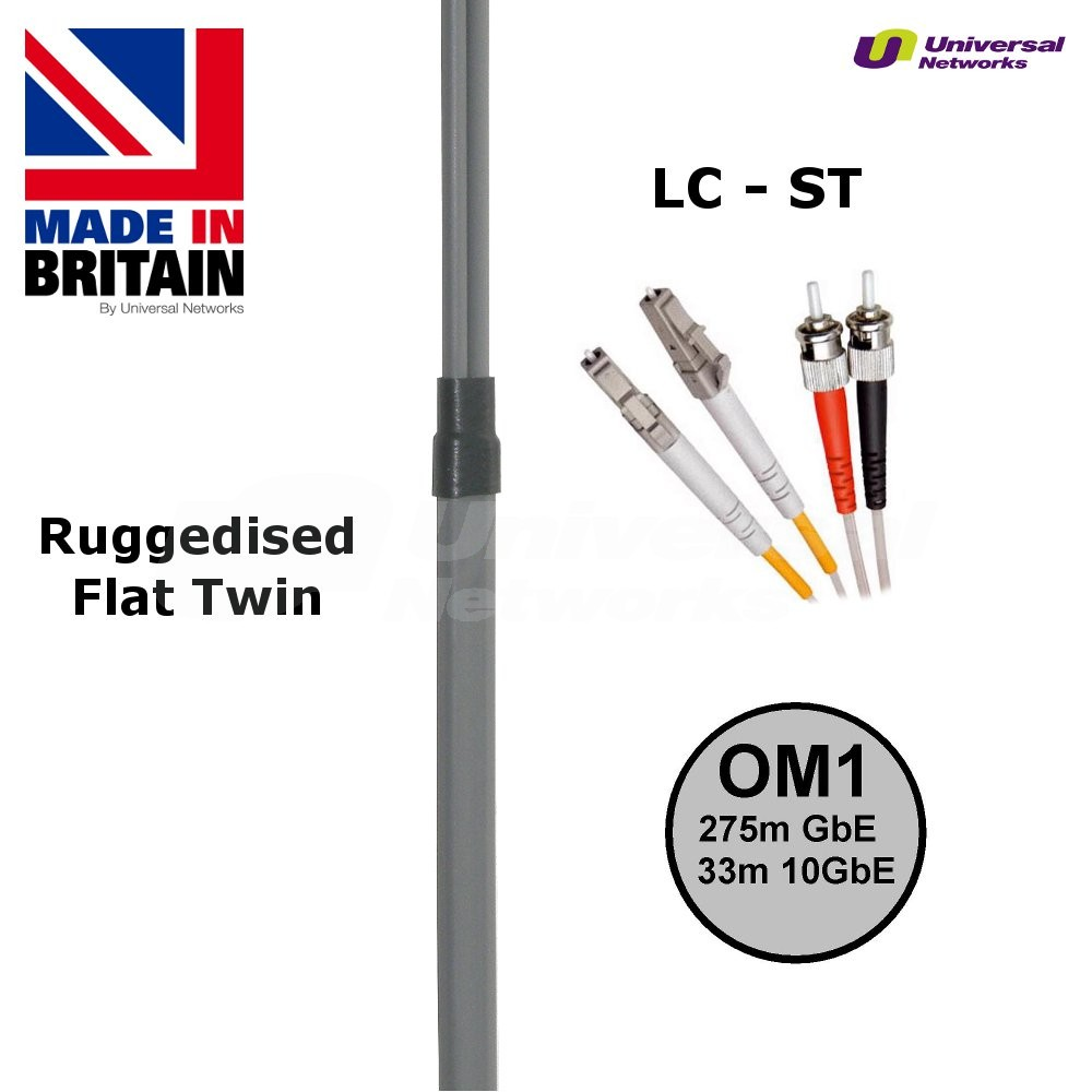 Ruggedised Multi Mode LSZH Fibre Patch Cable LC-ST