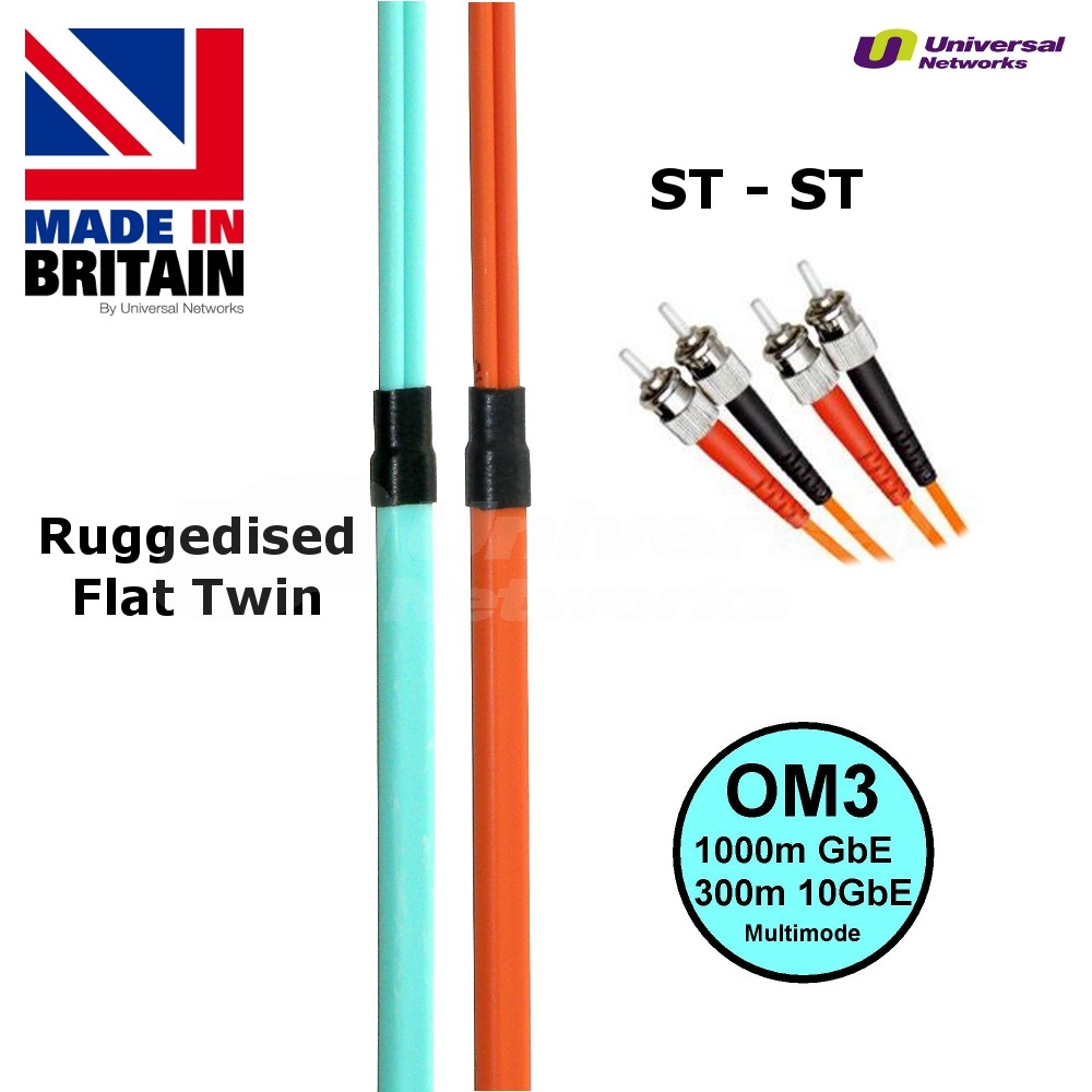 Ruggedised Multi Mode LSZH Fibre Cable OM3, ST-ST