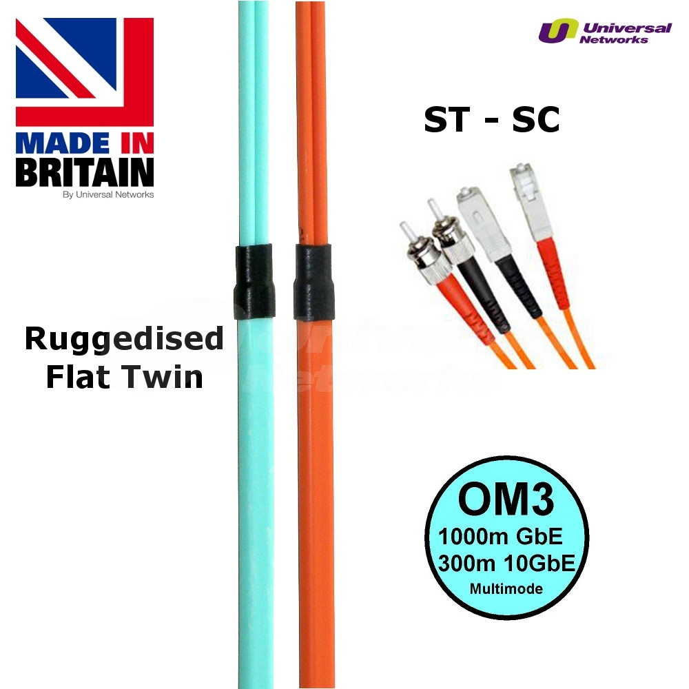 Ruggedised Multi Mode LSZH Fibre Cable OM3, ST-SC