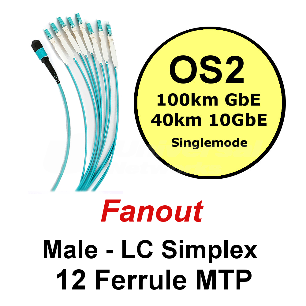 Lite Linke 12 Fibre OS1/2 Fanout - LCHD Simplex