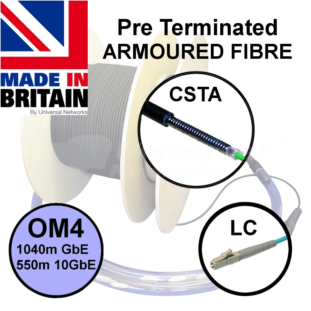 Pre Terminated CST Armoured Fibre OM4 with LC Connectors