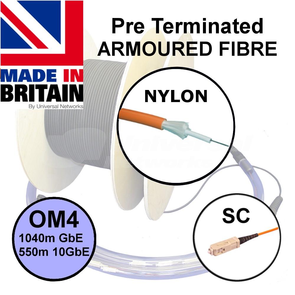 Pre Term Fibre Nylon SWA OM4 SC