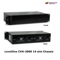 "LevelOne 19"" Managed Rack Mountable Chassis for up to 14x Media Converters Modules, Incl 2x PSU"