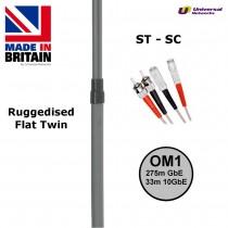 Ruggedised Multi Mode LSZH Fibre Patch Cable ST-SC