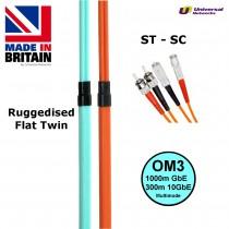 Ruggedised Multi Mode LSZH Fibre Cable OM3, ST-SC
