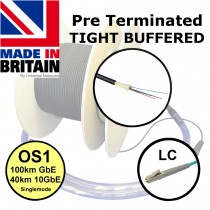 UK made Tight Buffered Pre Term Fibre Optic Singlemode LC