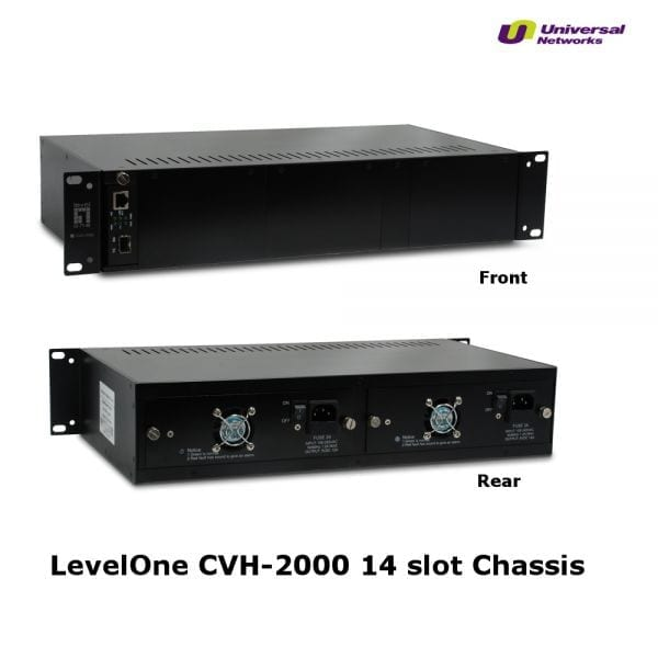"LevelOne 19"" Managed Rack Mountable Chassis for up to 14x Media Converters Modules, Incl 2x PSU -0"