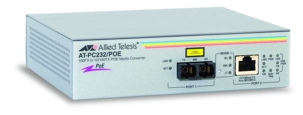 Allied Telesis AT-PC232/POE 100Mb PoE Multi Mode Converter-0